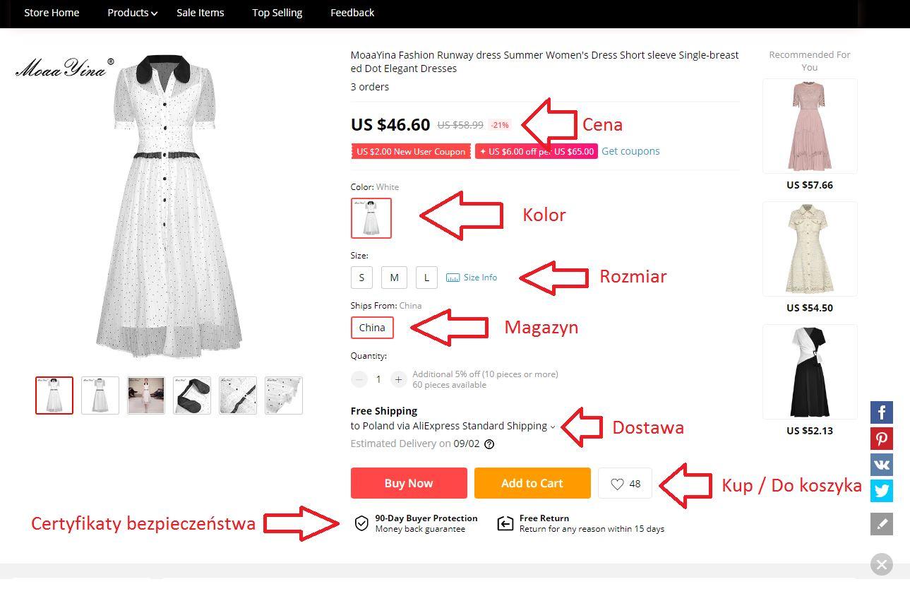 sukienka aliexpress jak zamówić